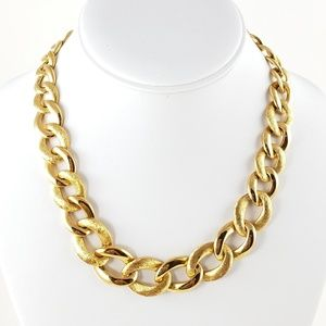 Vintage Monet Chain Necklace Large Gold Tone Links